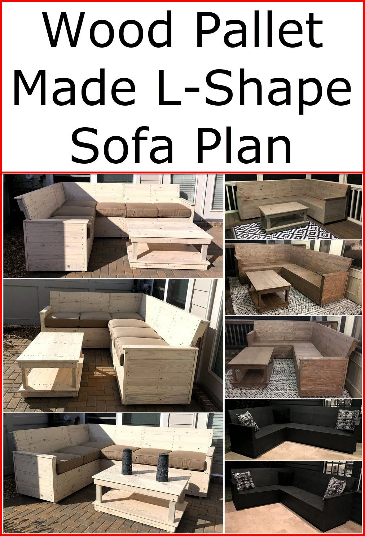 Wood Pallet Made L Shape Sofa Plan Wood Pallet Furniture Wood Pallets L Shaped Sofa Pallet Projects Furniture