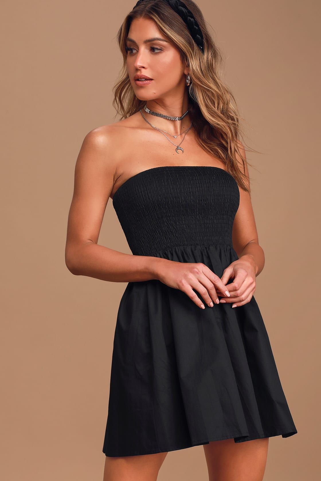 Our Love Story Black Strapless Smocked Mini Skater Dress Strapless Dresses Short Mini Skater Dress Casual Summer Dresses Sundresses [ 1680 x 1120 Pixel ]