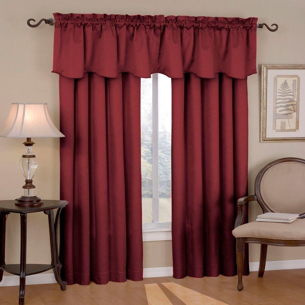 living room window valance ideas%0A Eclipse Canova Blackout Burgundy  Red  Polyester Curtain Valance     in   Length