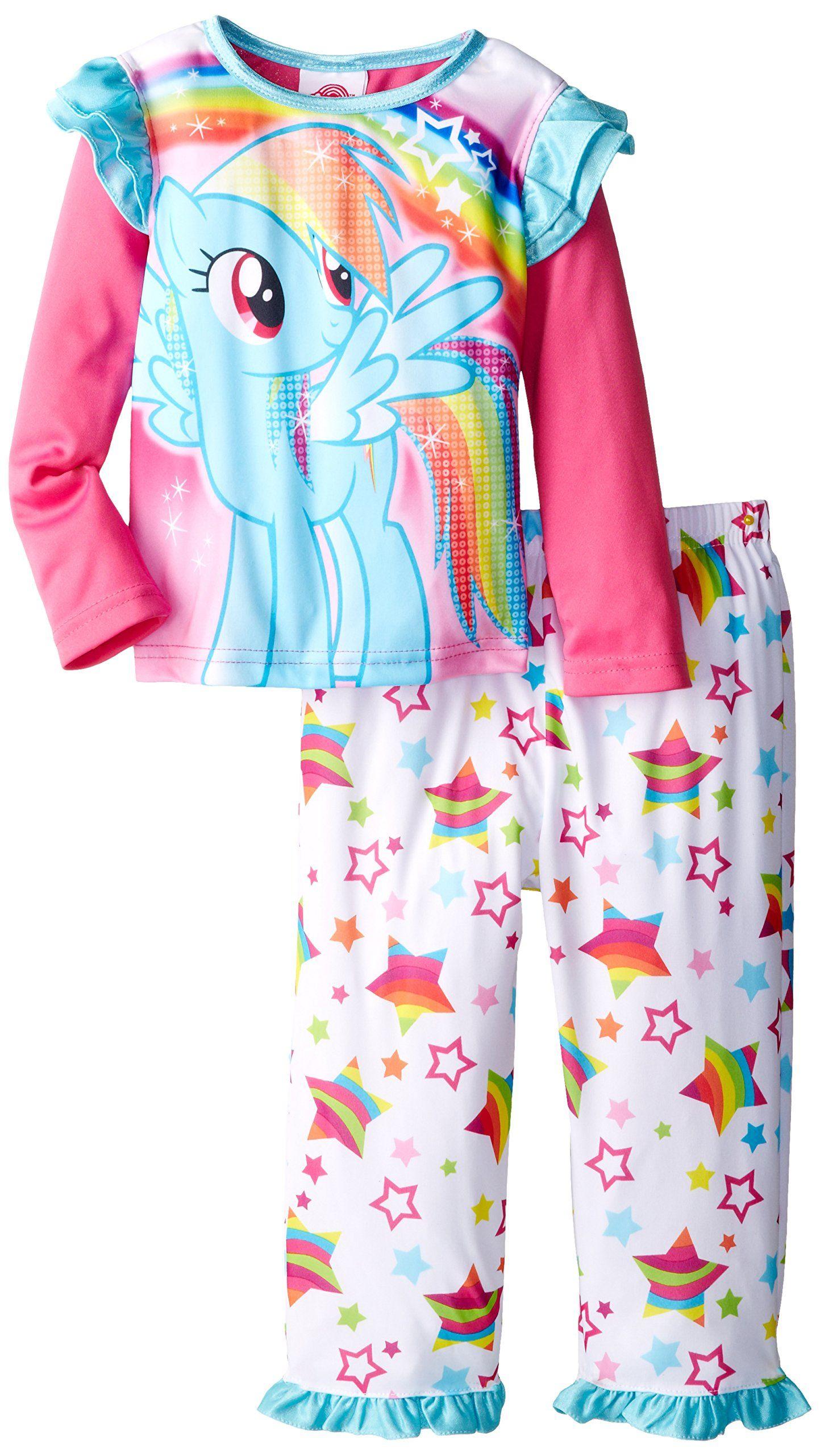 AME Sleepwear Little Girls  My Little Rainbow Pony Stars Pajama Set ... 6ceac310e