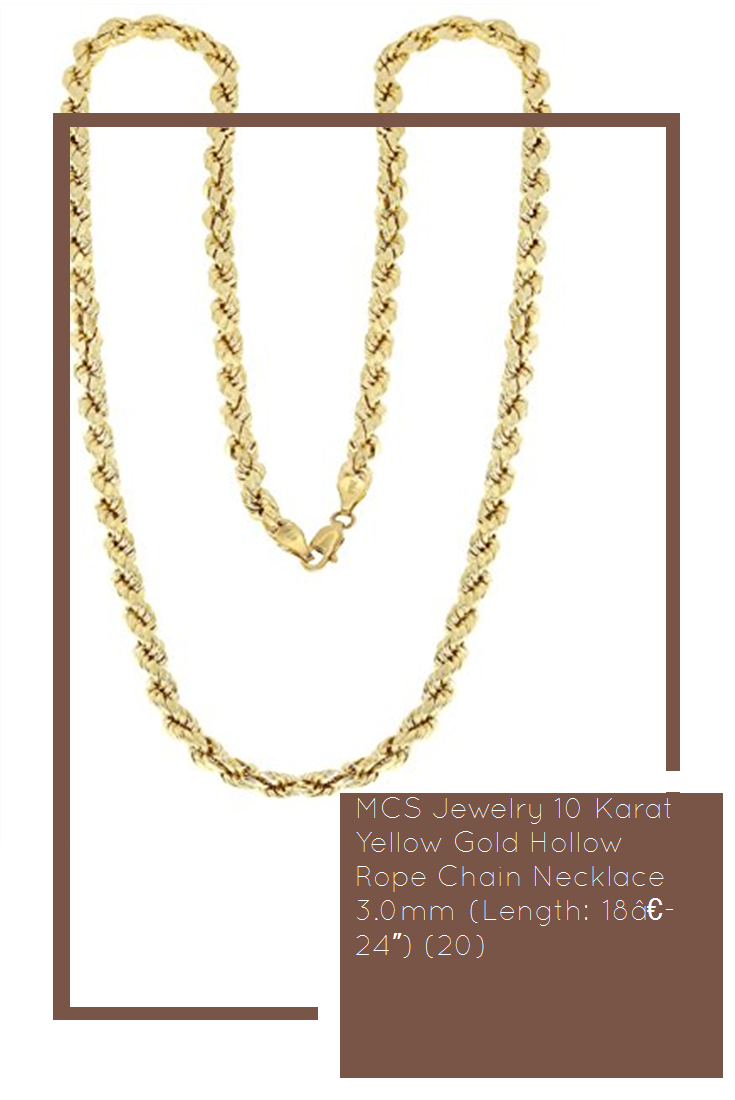 Mcs Jewelry 10 Karat Yellow Gold Hollow Rope Chain Necklace 3 0mm Length 18a 24 20 Color Chain Necklace Rope Chain Necklace