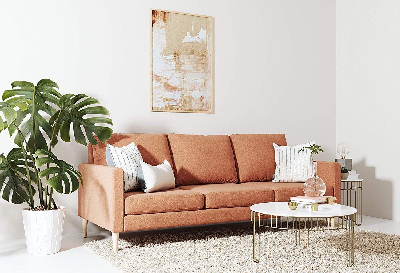 Mojave Orange Brushed Weave Sofa Cheap living room