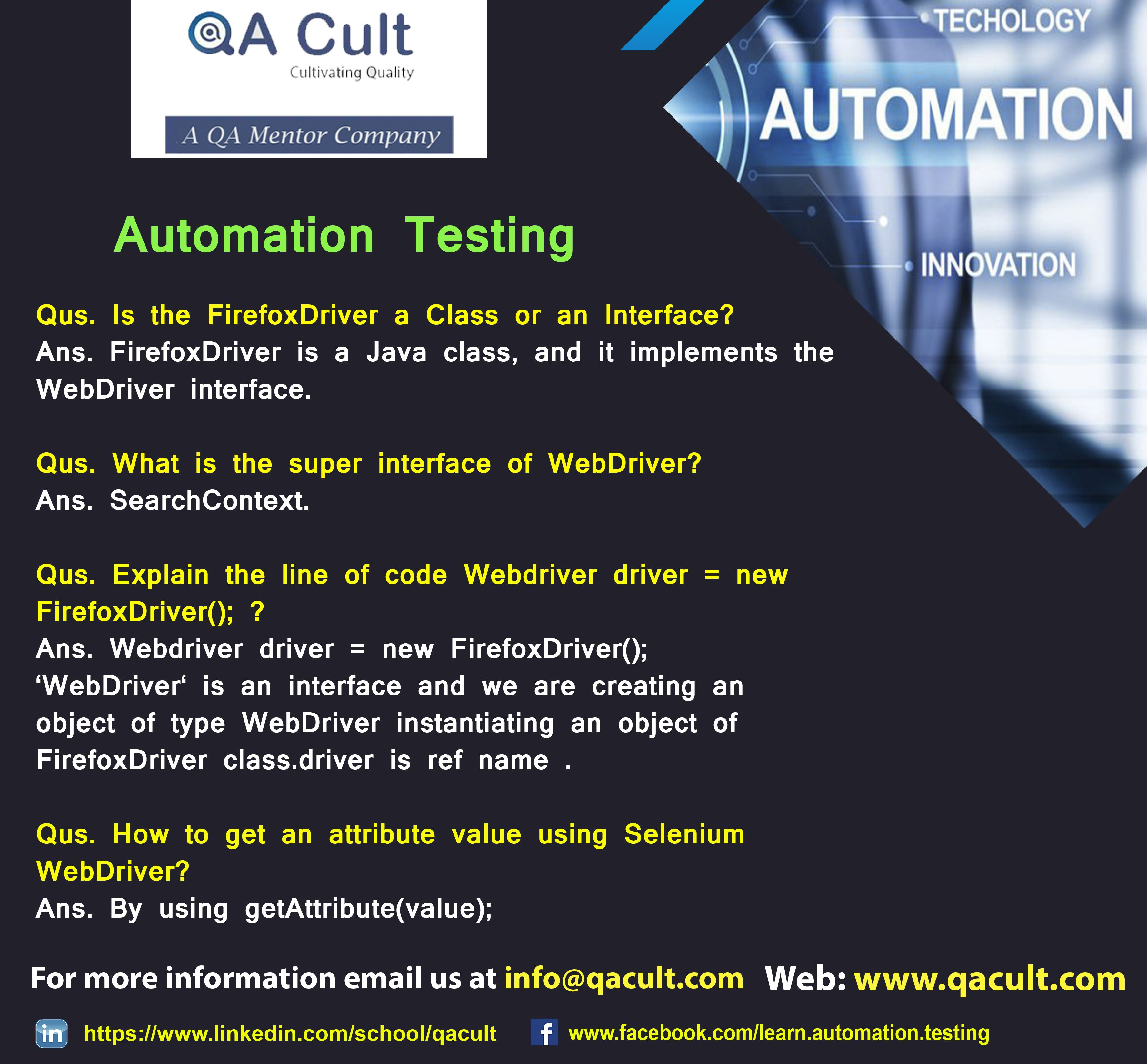 Automation Testing Http Www Qacult Com