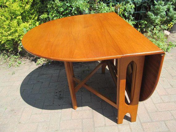 Mid Century Danish Modern 1960s Teak Large Drop Leaf Dining Table