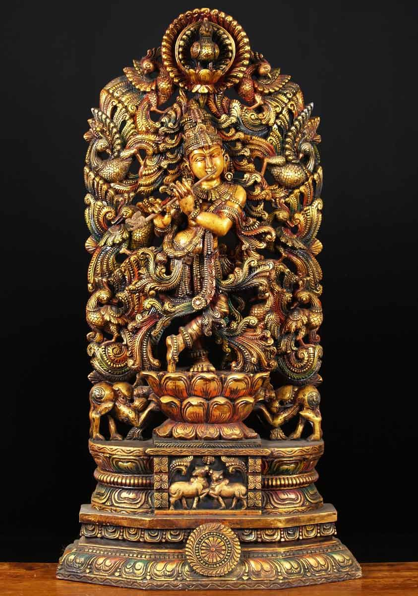 Sold wood kodi peacock krishna statue quot