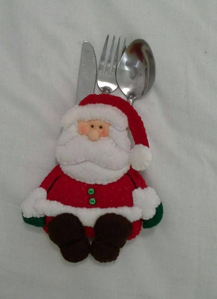 Porta cubiertos navide os fieltro o pa o lency navidad for Navidad adornos manualidades navidenas