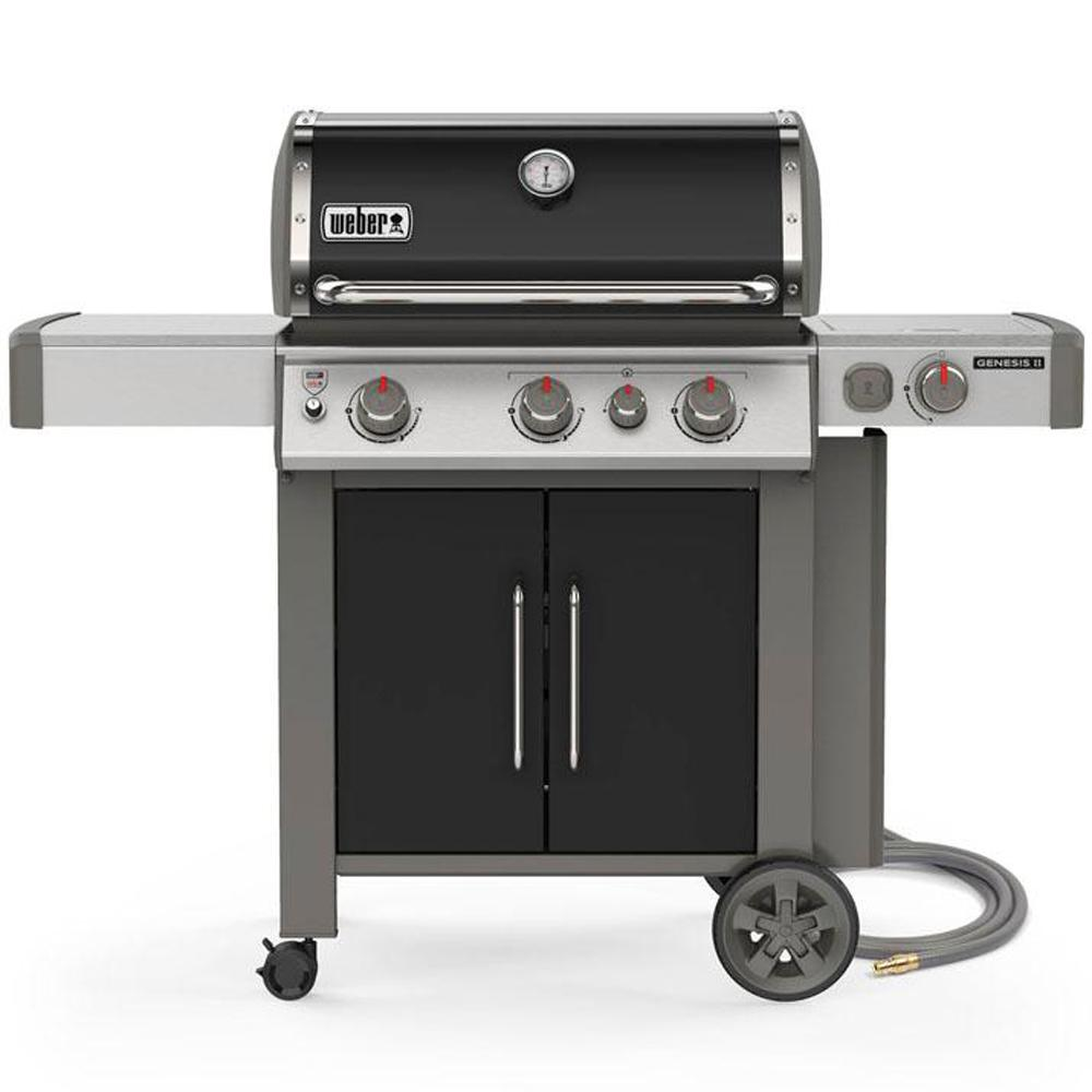 Weber Genesis Ii E 335 3 Burner Natural Gas Grill In Black With Built In Thermometer And Side Burner 66016001 The Home Depot In 2020 Natural Gas Grill Gas And Charcoal Grill Gas Grill