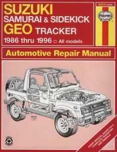 Suzuki Samurai Sidekick Geo Tracker 1986 Thru 1996 All Models Haynes Automotive Repair Manual Series Suzuki Samurai Repair Manuals Suzuki