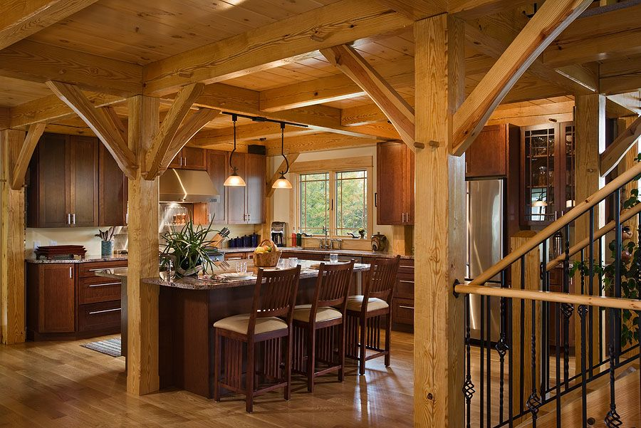 Timber Frame kitchen...beautiful breakfast bar and exposed ...