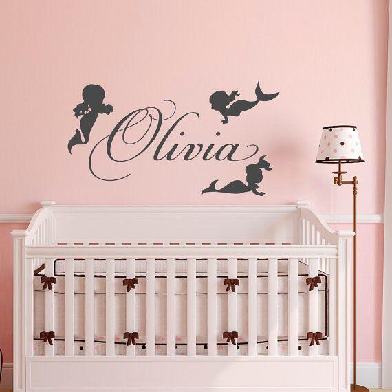Personalised Girls Name Mermaid Wall Sticker Baby Nursery Vinyl Bedroom Decal