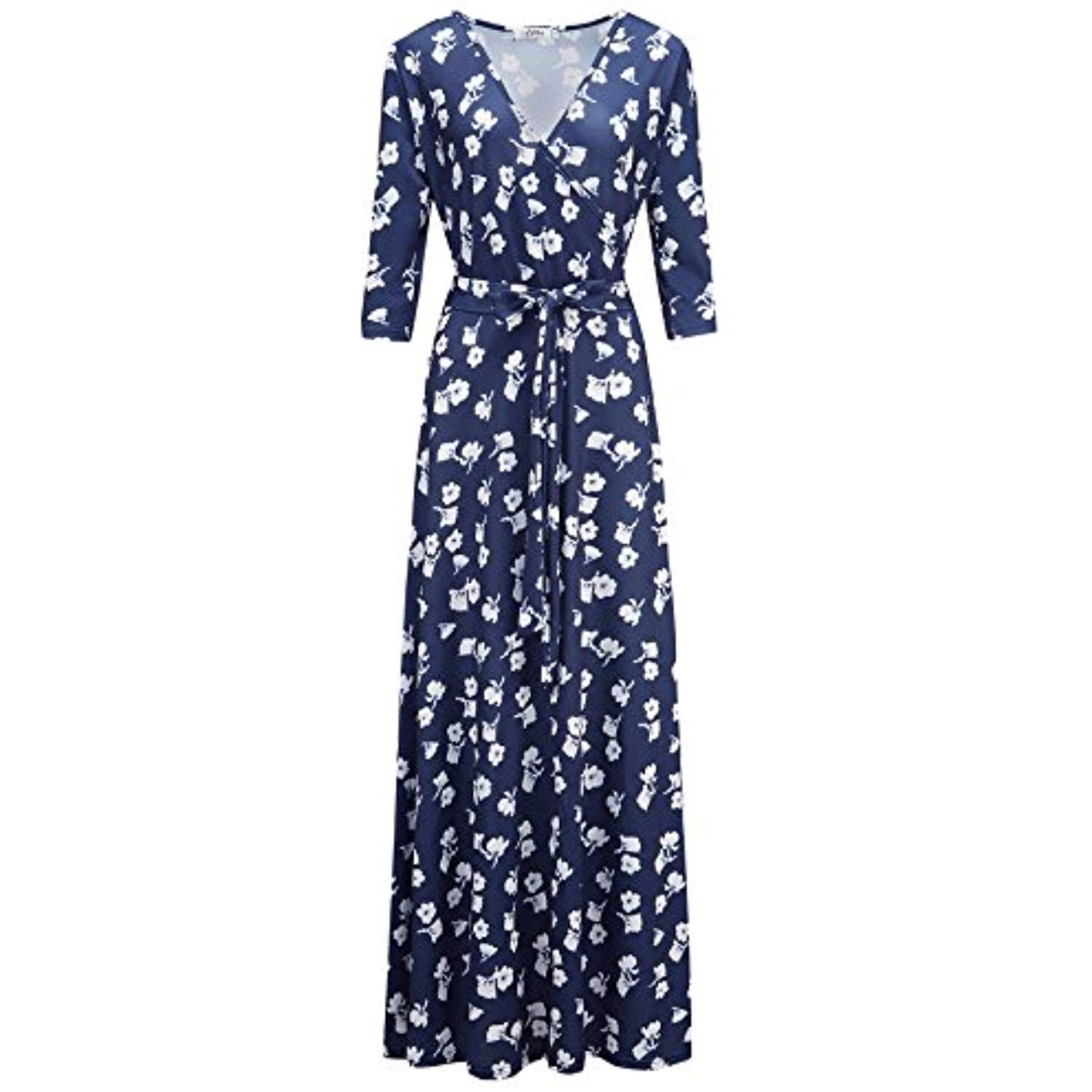Womens Bohemian 3 4 Sleeve Faux Wrap Maxi Dress With Belt You Can Find More Details By Visiting The Image Link This Is An A Maxi Dress Dresses Airy Dress [ 1500 x 1500 Pixel ]