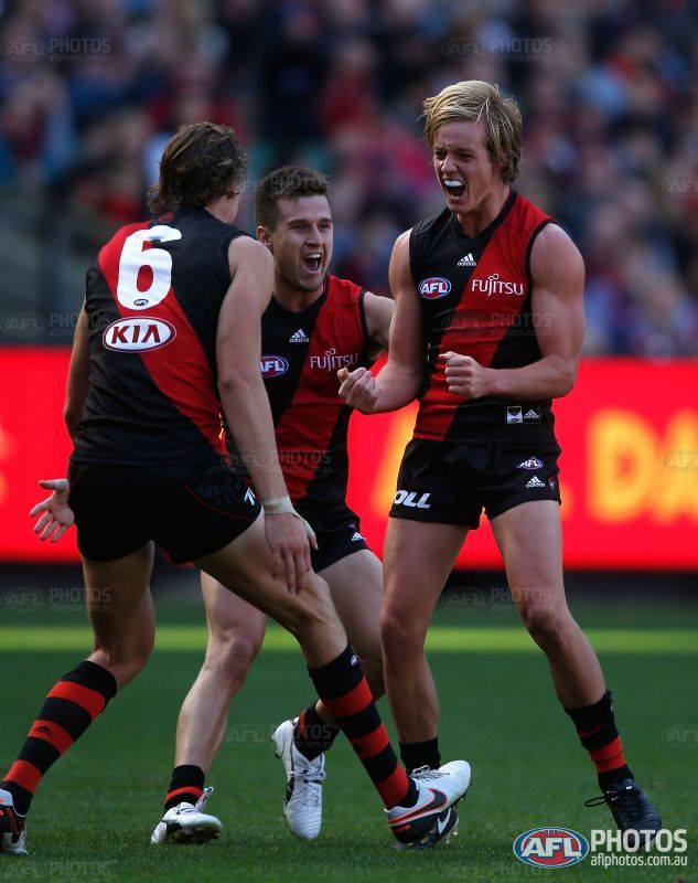 Darcy Parish of the Bombers celebrates a goal during the 2016 AFL ...