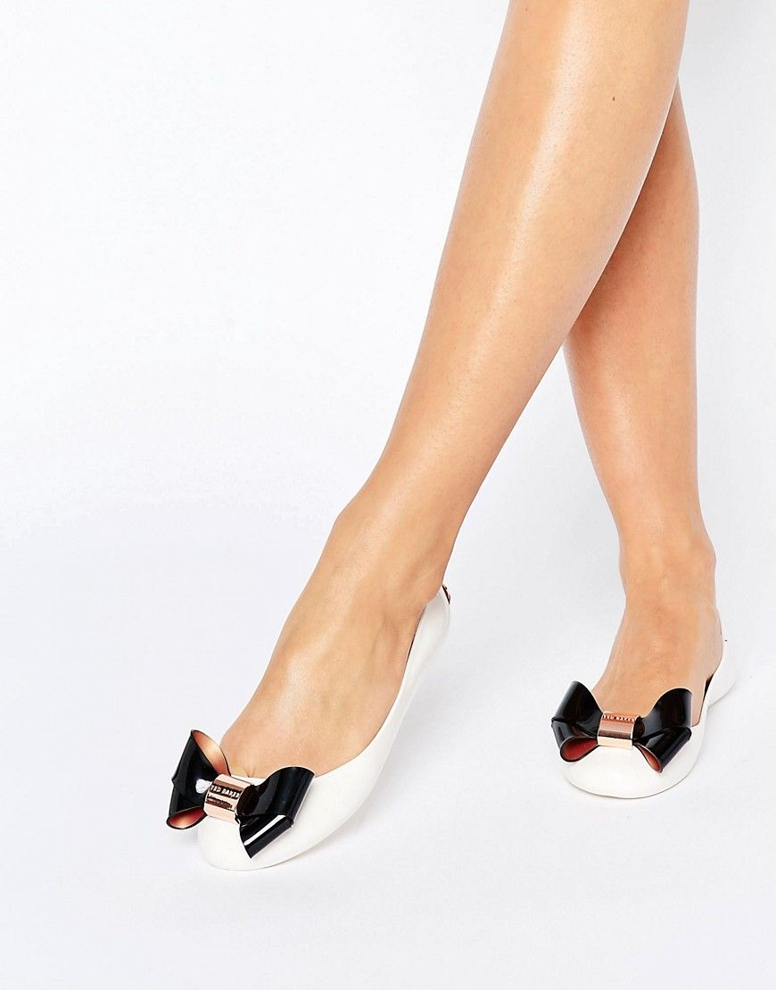 c6d268a70 Ted Baker Cream Black Faiyte Bow Jelly Shoes