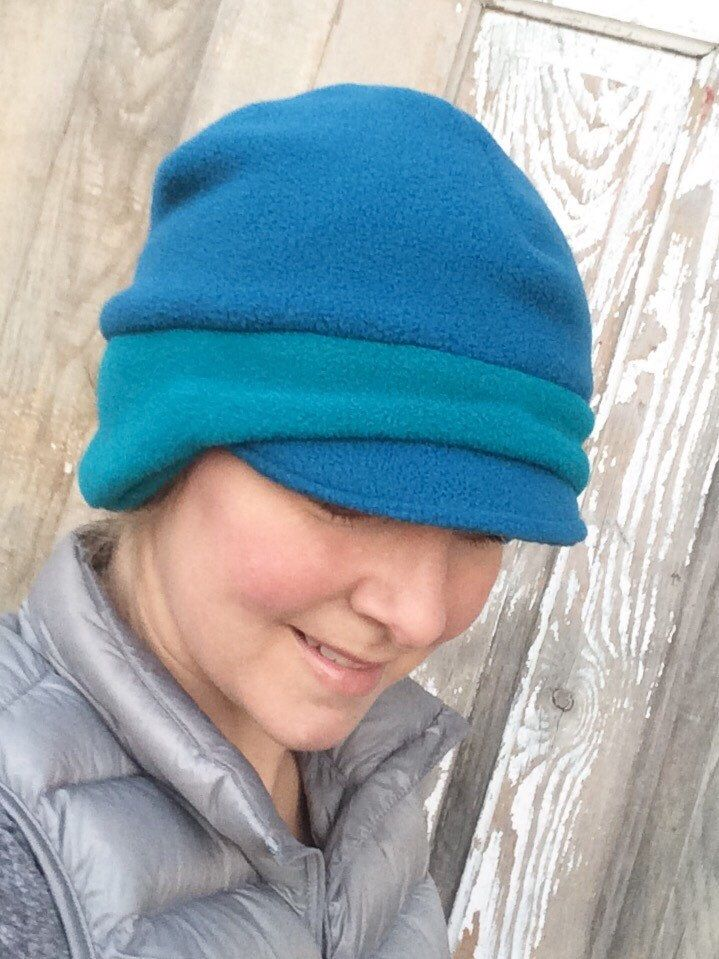 b61a3f80 Polar Fleece Winter Newsboy Hat for Women :: Two-Tone Ocean blue and  Turquoise :: Ships in 3-5 business days This two-tone blue Polartec fleece  newsboy hat ...