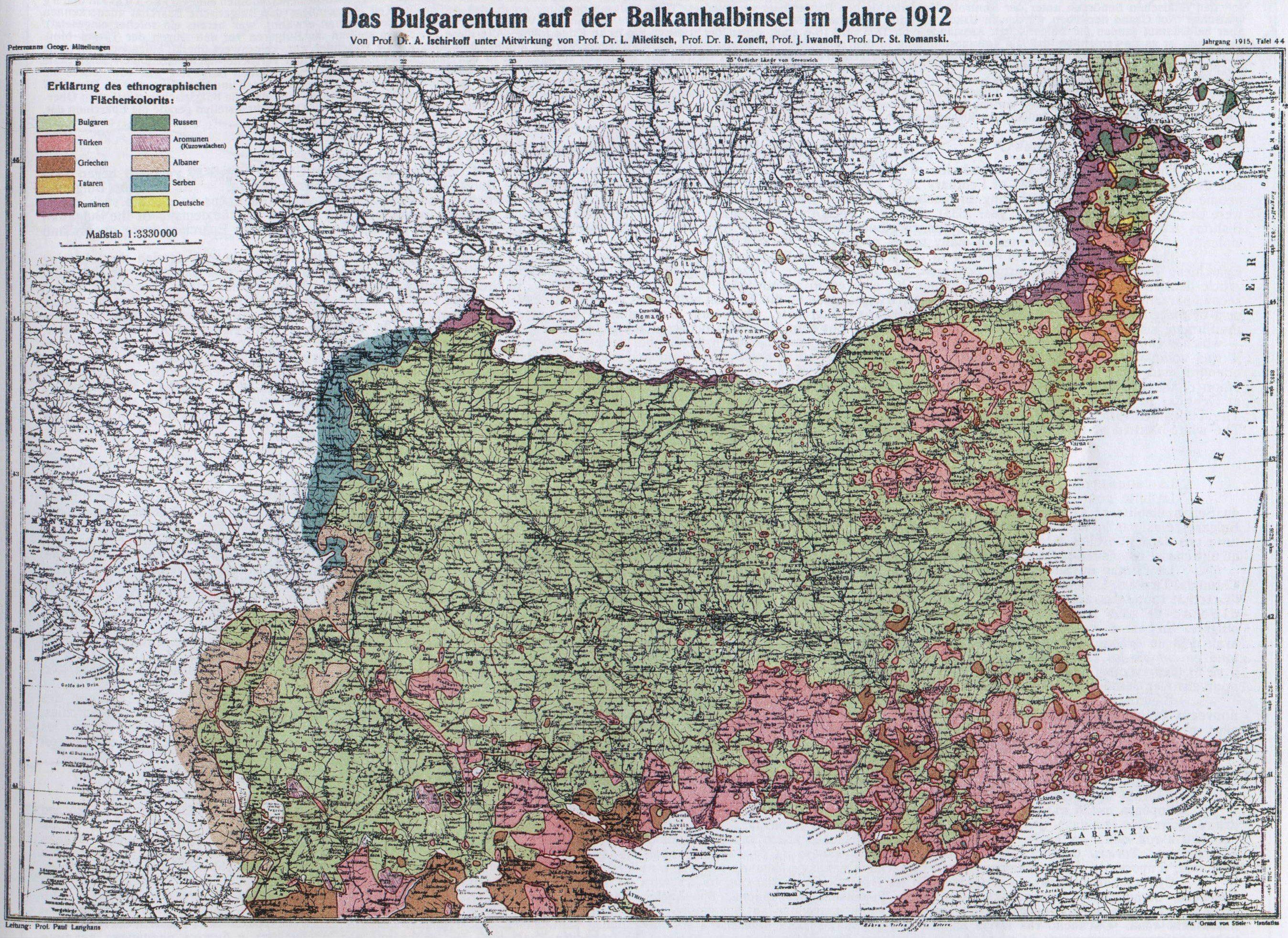 Ethnographic map of Bulgaria 1912 Ethnographic map