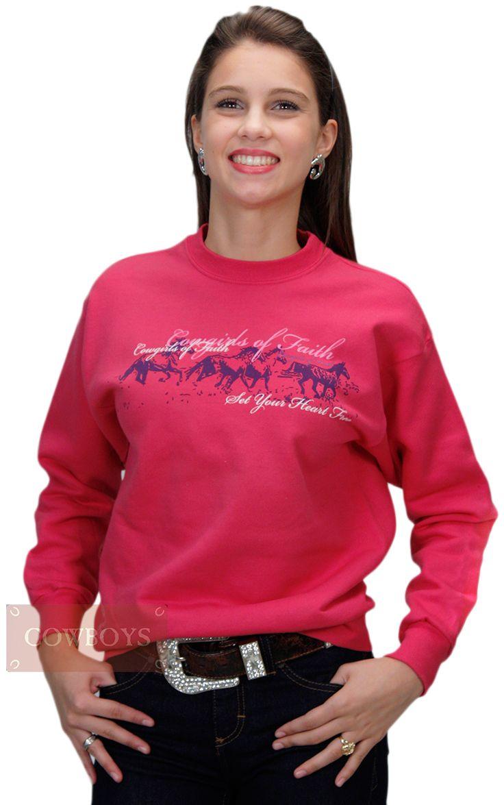 Moletom Infantojuvenil Cowgirls Of Faith Pink. Blusa moletom feita em  algodão e Poliéster 88c40594b6b