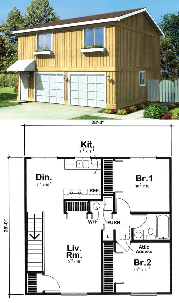 Garage apartment plan 6015 has 728 square feet of living for 2 car garage with apartment