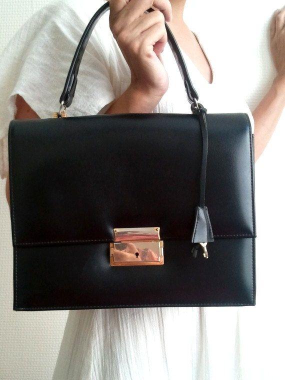 vintage bag kelly  black vynile circa 1960 french by lesclodettes, $49.00