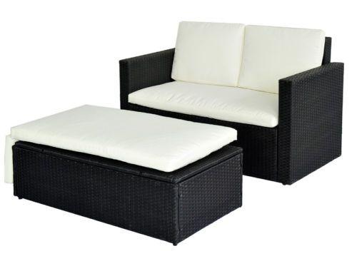 960 Poly Rattan Lounge Schwarz Sofa Garnitur Polyrattan Sitzgruppe Gartenmobel Schwarzes Sofa Gartenmobel Lounge Set Lounge Sessel