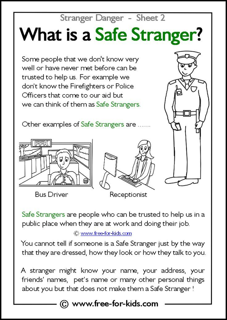Stranger Danger Worksheets and Colouring Pages Teaching