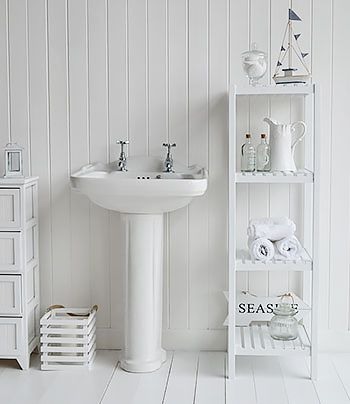 Brighton white bathroom shelf unit with 4 shelves for storage ...
