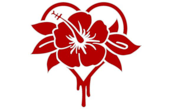 Hibiscus & Heart Sticker, $4.00