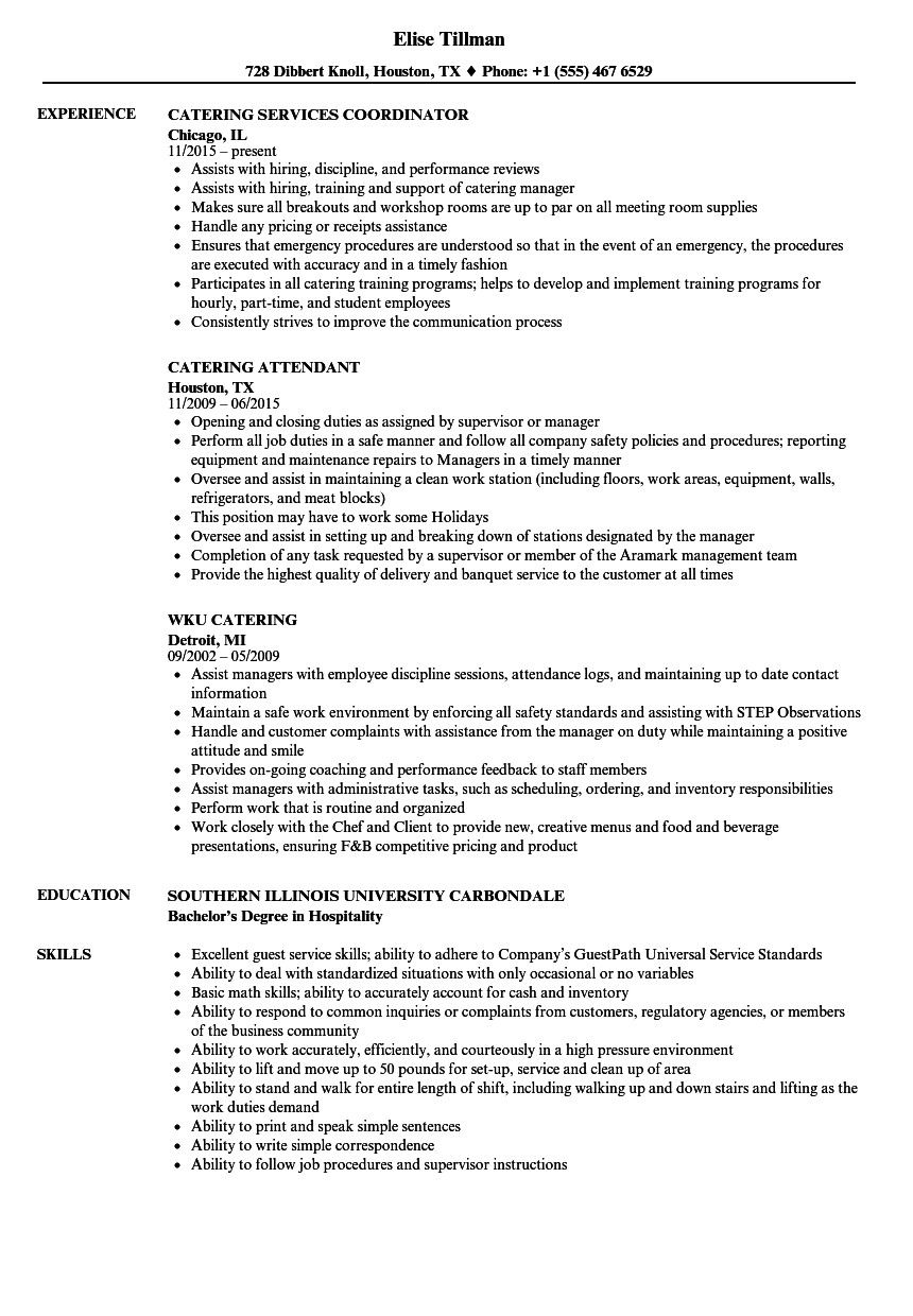 Catering Job Description for Resume Cool and Elegant