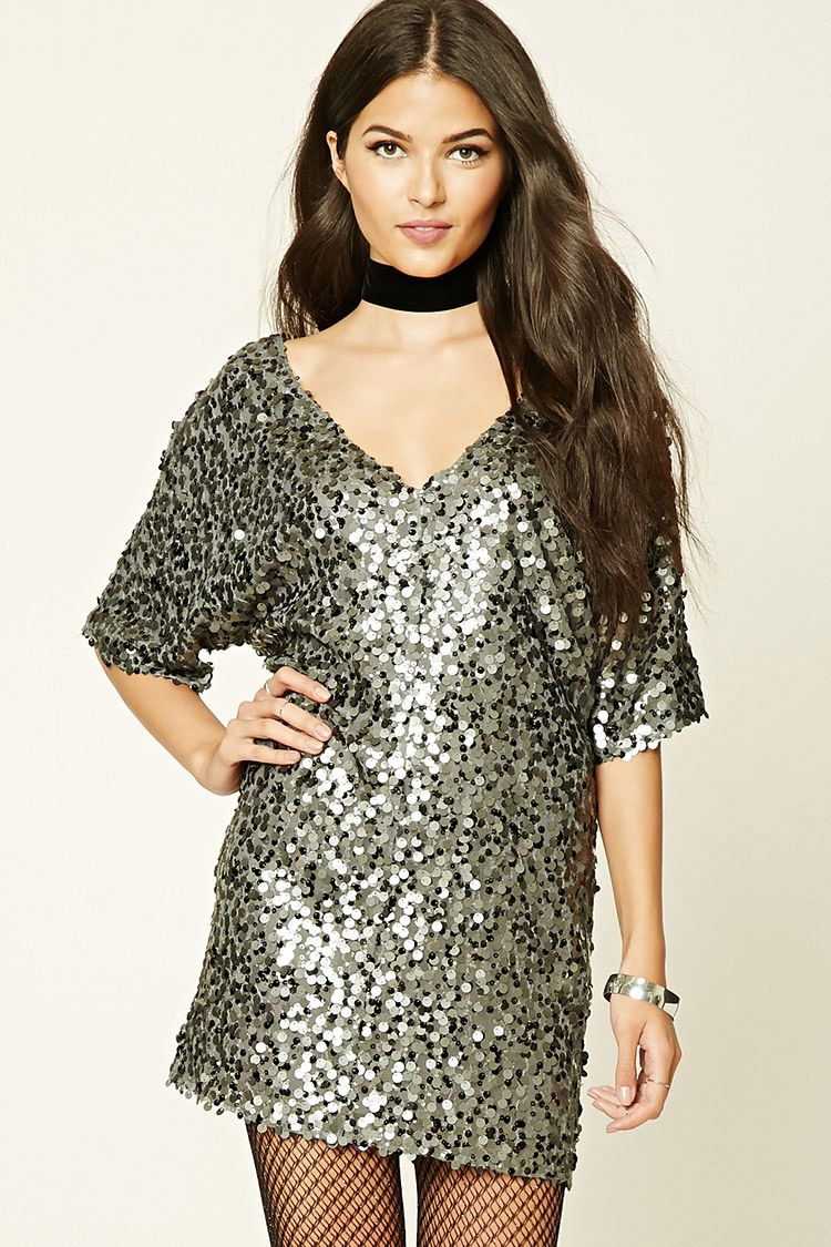 b1a1262045 Forever 21 Contemporary - This mini dress features an allover sequined mesh  fabric, a V-cut front and back, short sleeves, and a boxy silhouette.
