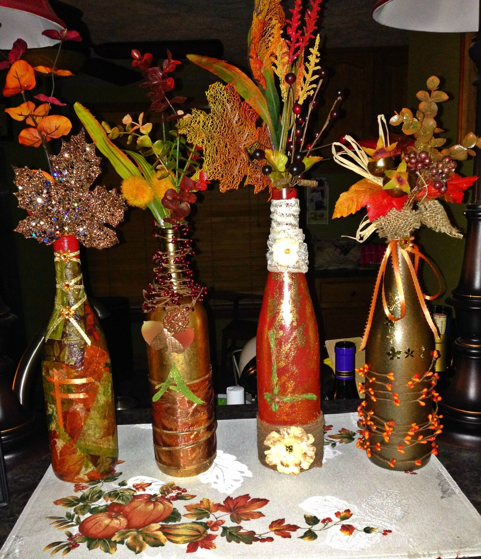 What to do with empty wine bottles - Diy Fall Wine Bottles Spray Paint Empty Wine Bottles And Get Creative