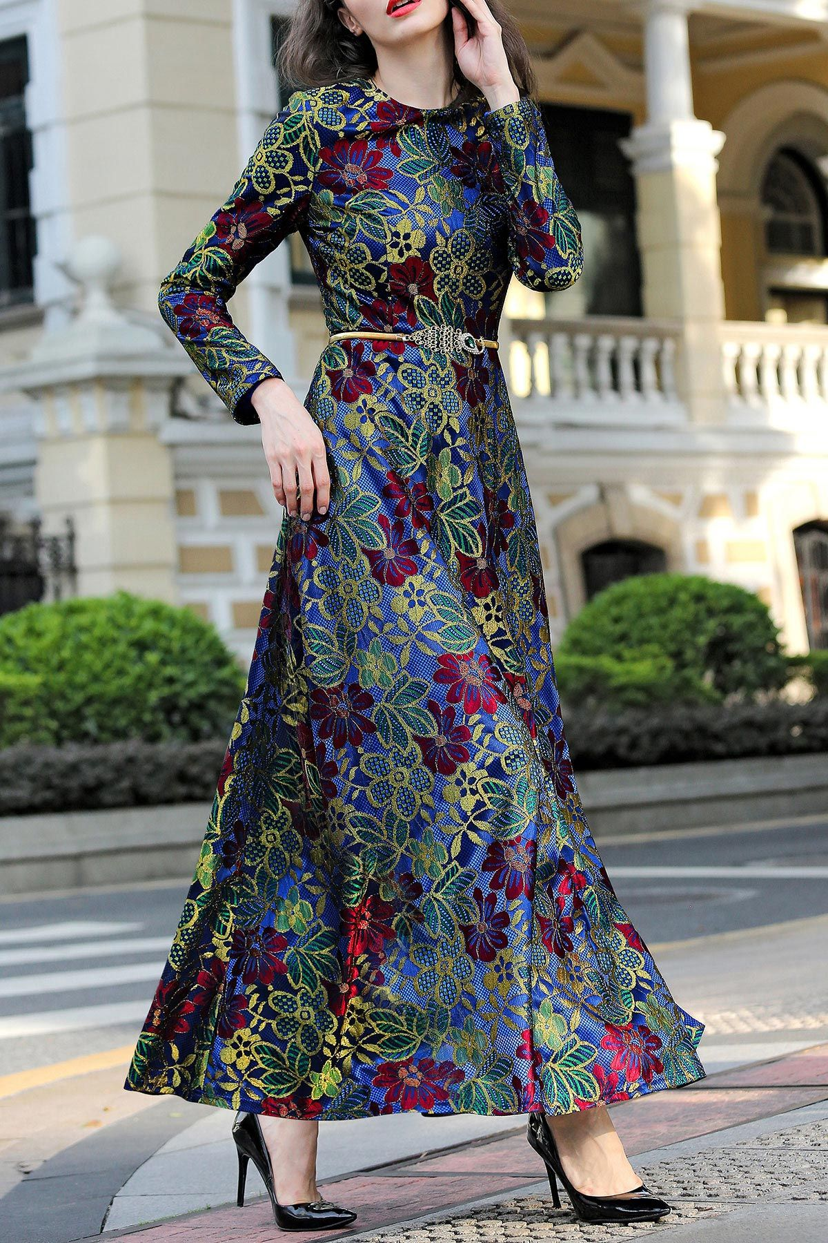 Floral jacquard evening dress floral perfect woman and winter fashion