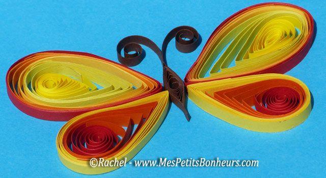 Papillon en quilling bricolage papier roul bricolage - Bricolage facile a faire en papier ...