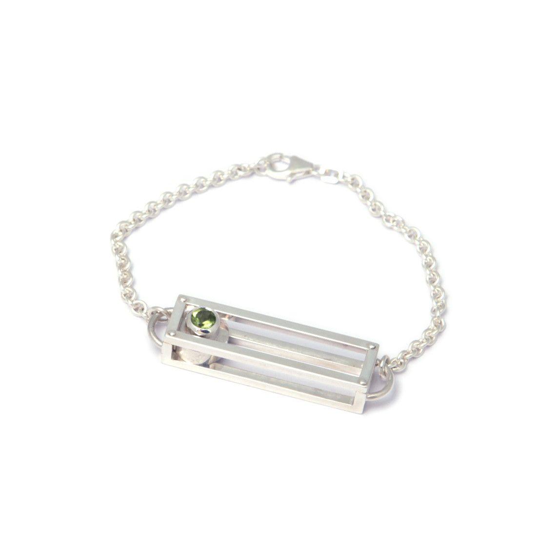 Nicole Van Der Wolf  Shipshape Peridot Silver Bracelet