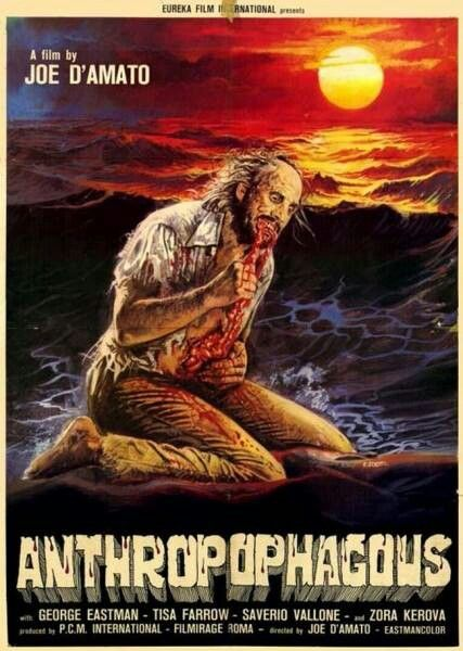 ANTHROPOPHAGOUS (1980)  A group of tourists become stranded on an uninhabited island where they are stalked by an insane, violent, and grotesque killer that slaughtered the town's former residents.