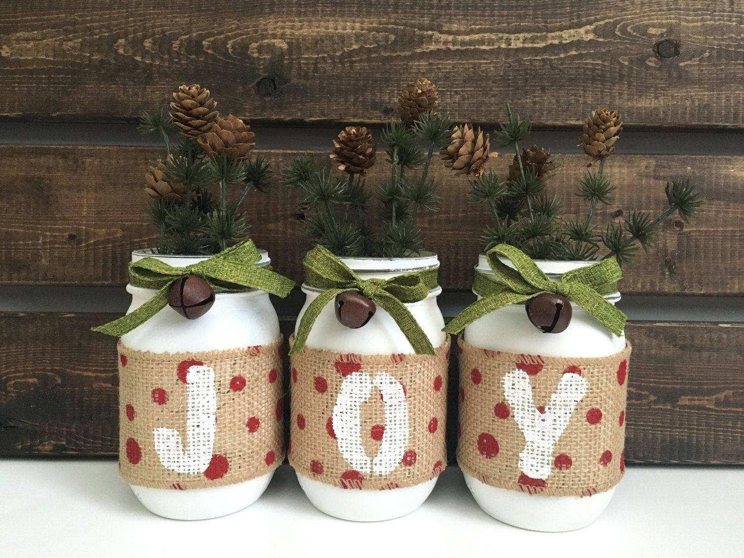 Mason Jar Decorations For Christmas Christmas Mason Jar Decor Holiday Centerpiece Table Decor