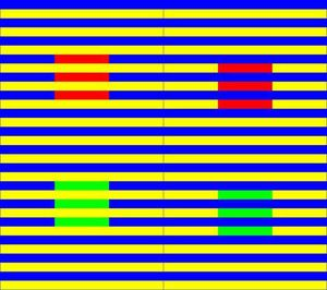 the Munker illusion relies on your brain's way of seeing colour. both the top squares are the exact same shade, as are the two bottom ones.