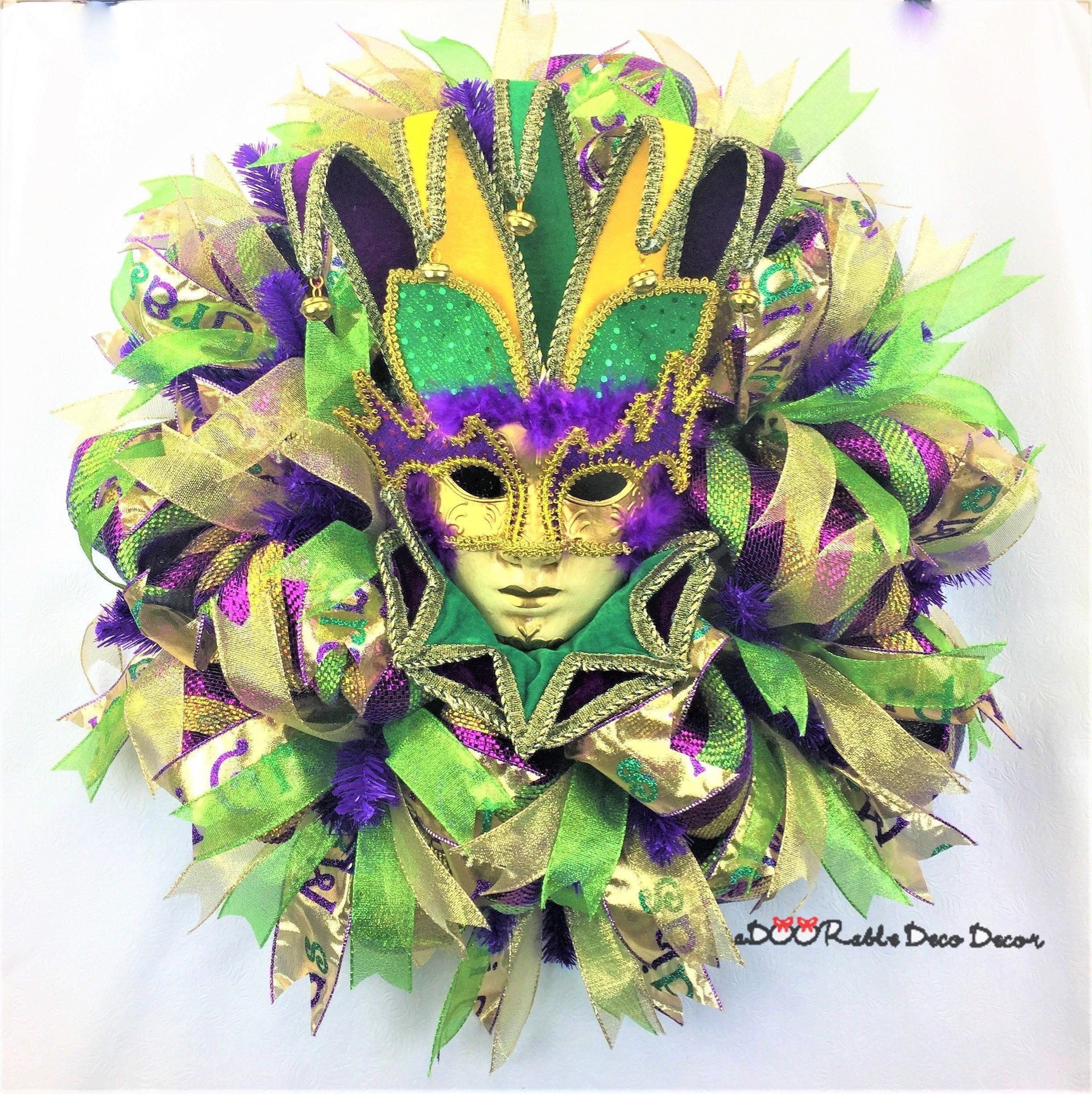 Mardi Gras Mask Decorating Ideas Mardi Gras Wreath Mardi Gras Deco Mesh Fat Tuesday Mardi Gras & Mardi Gras Mask Decorating Ideas   Decorative Design