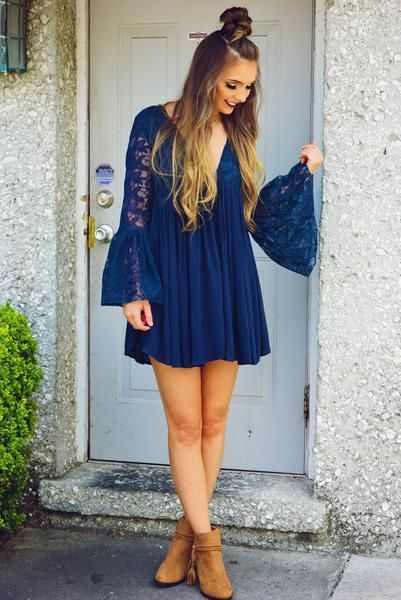 Lost Without You Dress: Navy