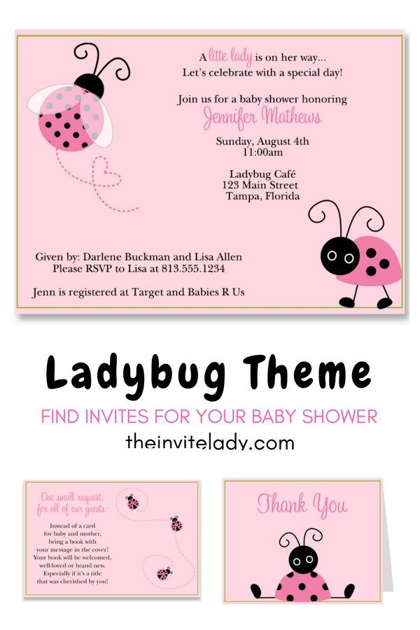 L is for Ladybug Baby Shower Invitation | Babies and Shower invitations