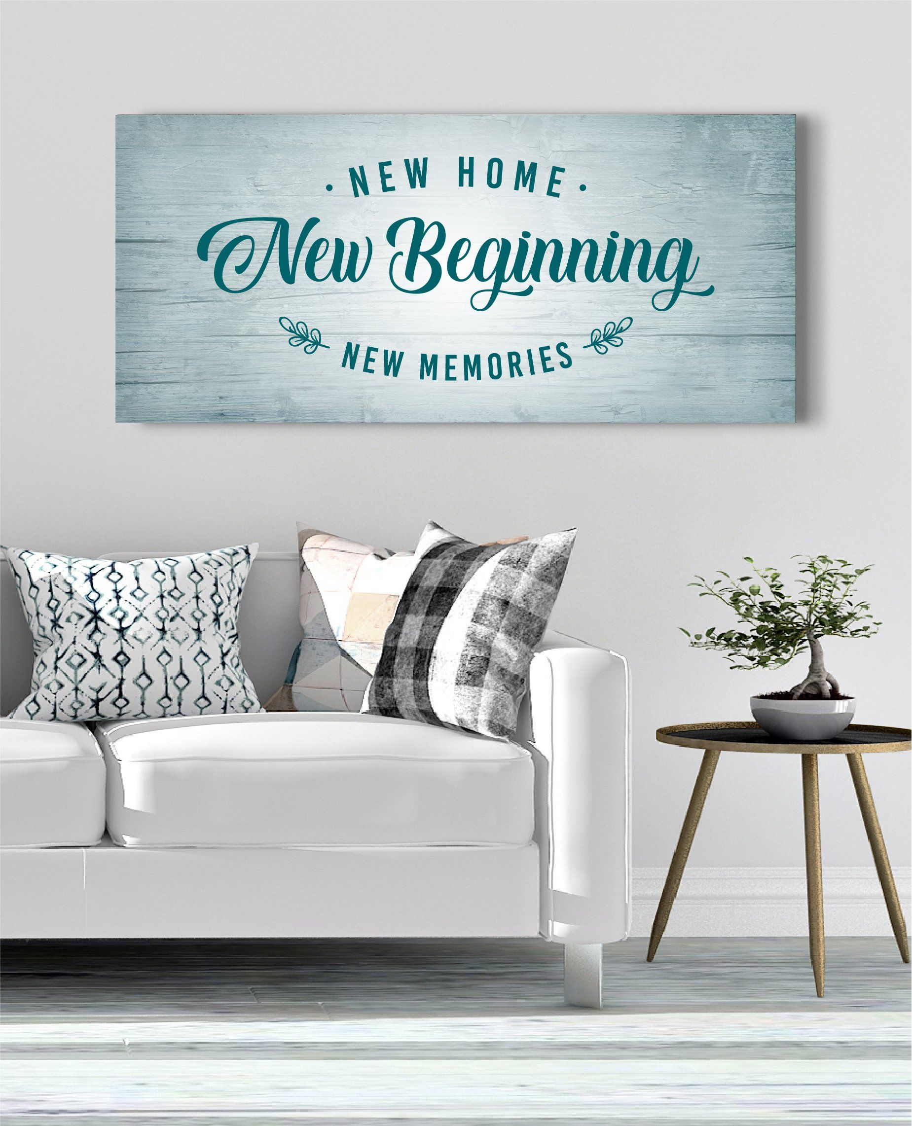 Home Wall Art New Home New Beginning Wood Frame Ready To Hang Family Wall Art Family Wall Home Wall Art