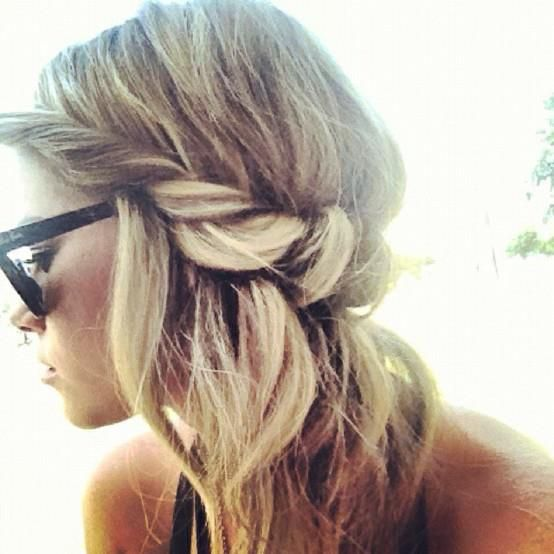 Great hair twisted half up do blond hairstyle