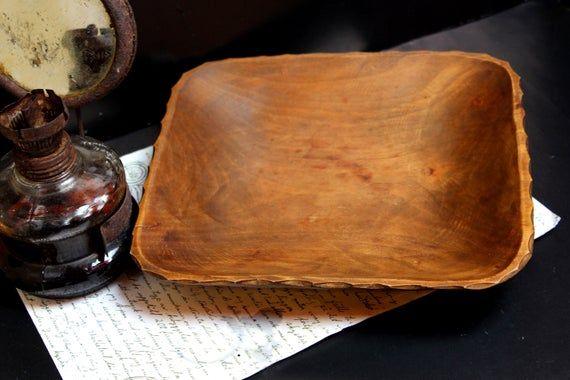 Photo of Carved wooden bowl,  Vintage bowl, Wooden dish bowl, Primitive  bowl, Primitive folk decor, Kitchen