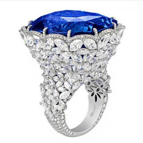 Tanzanita 925 azul zafiro anillos 18 K oro flor de la alta calidad - bao de piedra