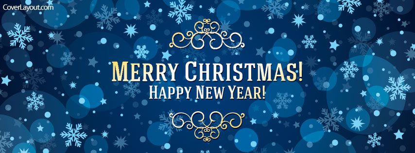 Blue Merry Christmas and Happy New Year Facebook Cover