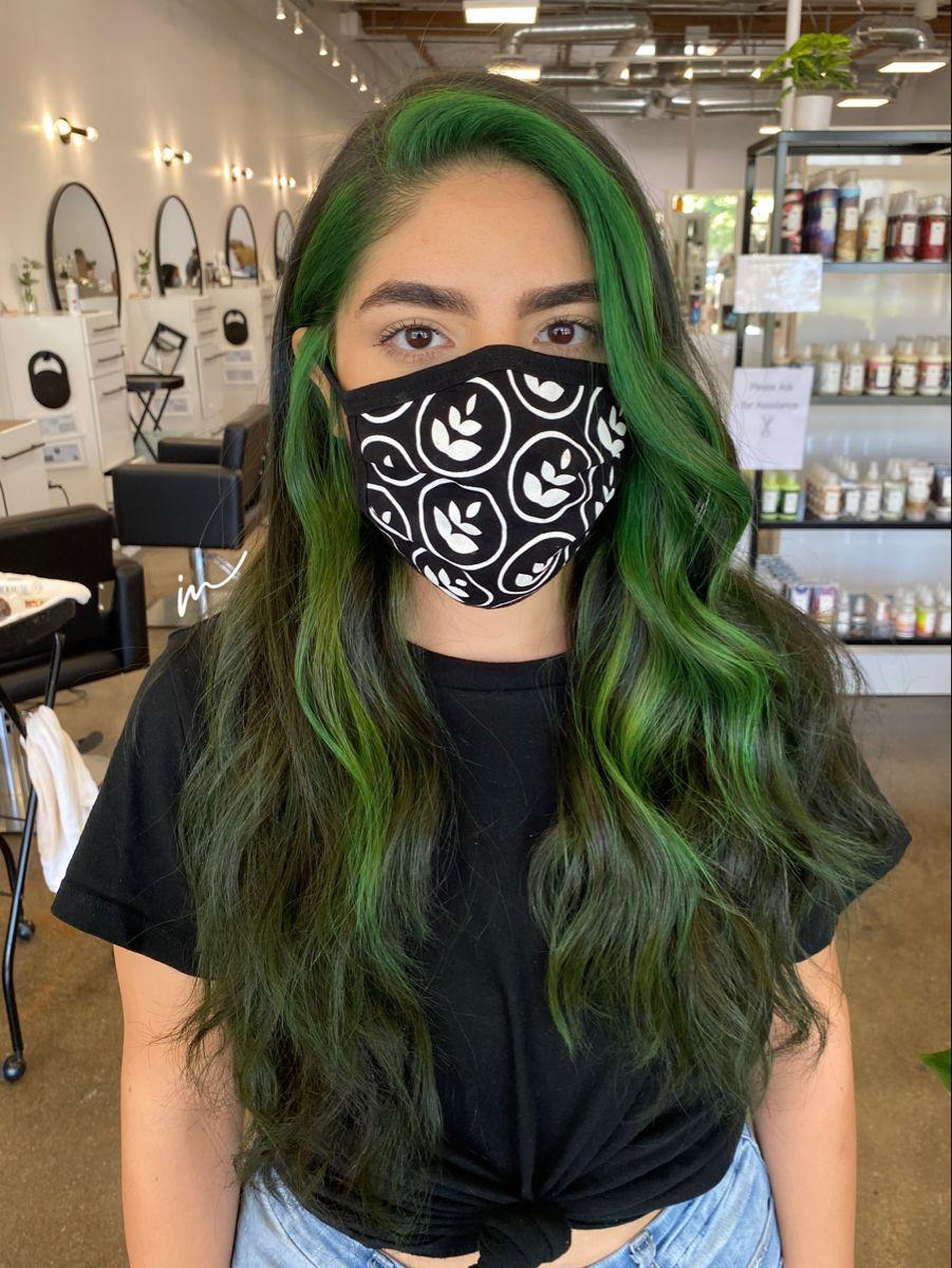 Green 90 S Streak In 2020 Hair Color Streaks Hair Streaks Aesthetic Hair