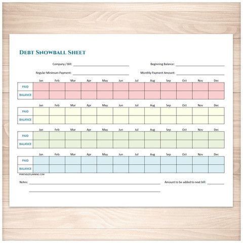 debt snowball sheet printable planning