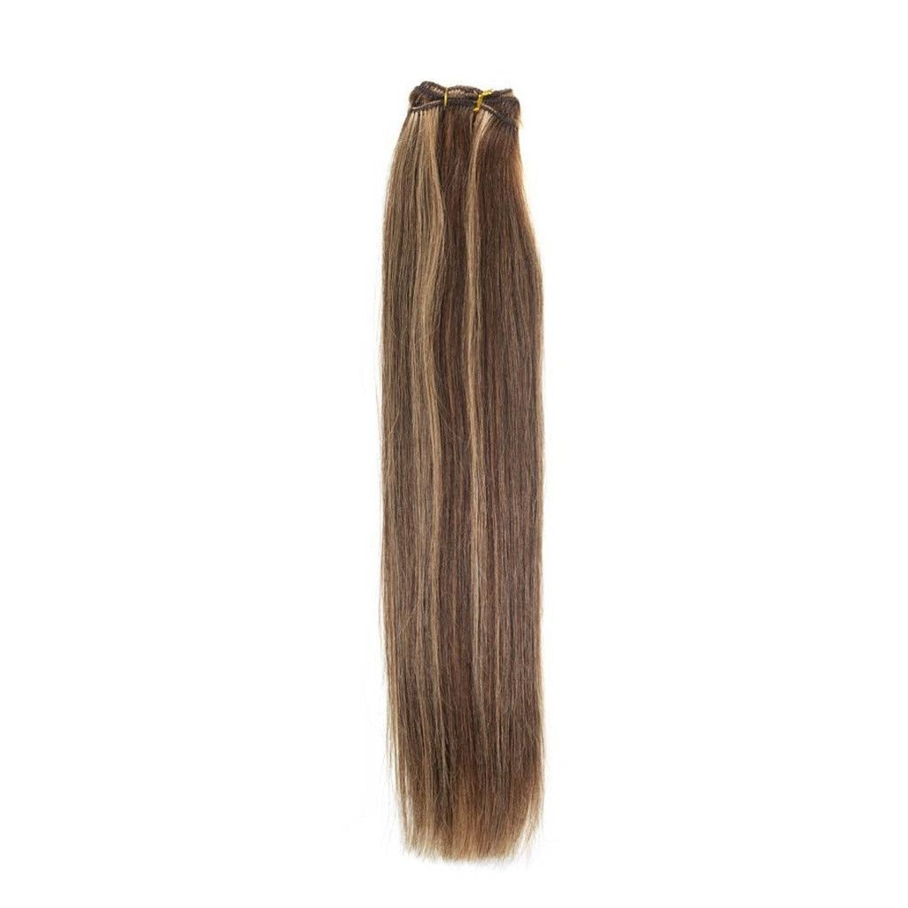 Euro Silky Weave Human Hair Extensions 18 Inch Colour Brown