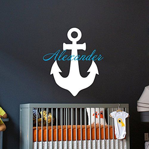 wall decals custom personalized name children gift anchor decal