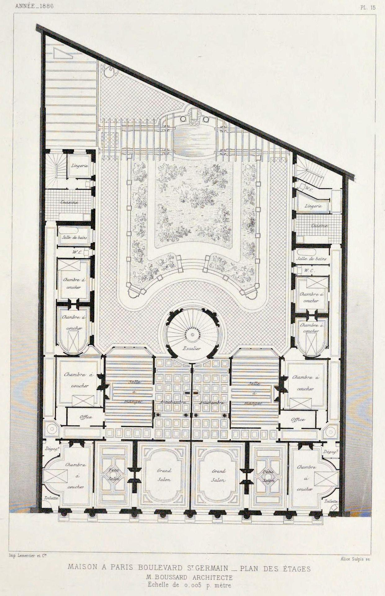 Floor Plan Of An Apartment Building On Boulevard Saint Germain Paris How To Plan Masterplan Architecture Floor Plans