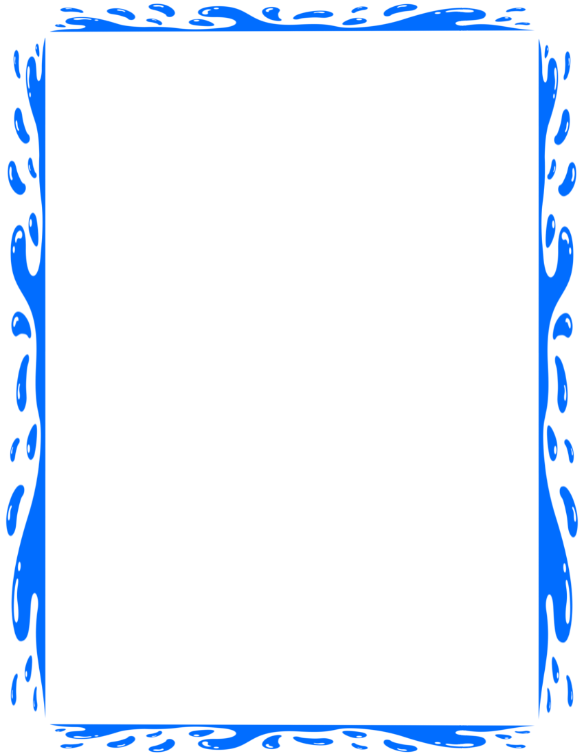 Splashy Water Border Page Blue  Microsoft Word Page Border Templates