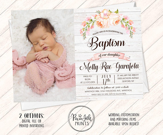 Personalised Photo Christening//Baptism//Naming Day Invite//Invitations Boy//Girl C2